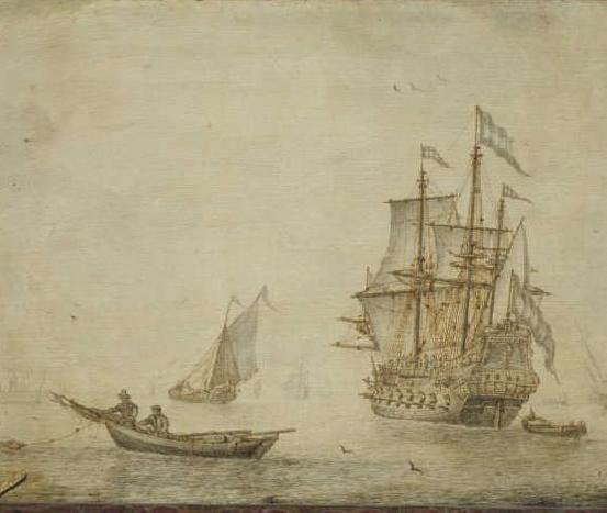 Ships on the road, Cornelis Pietersz