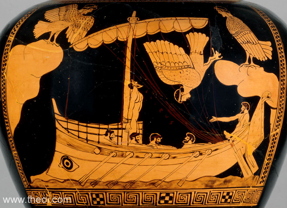 Greek mosaic depicting Odysseus and the sirens