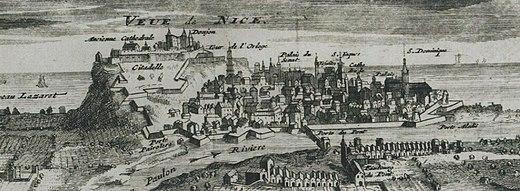 Vue de Nice et de sa citadelle en 1691