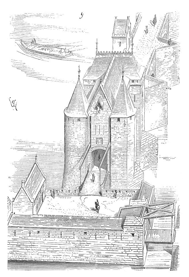 Dessin du pont des Tourelles par Eugène Viollet-le-Duc