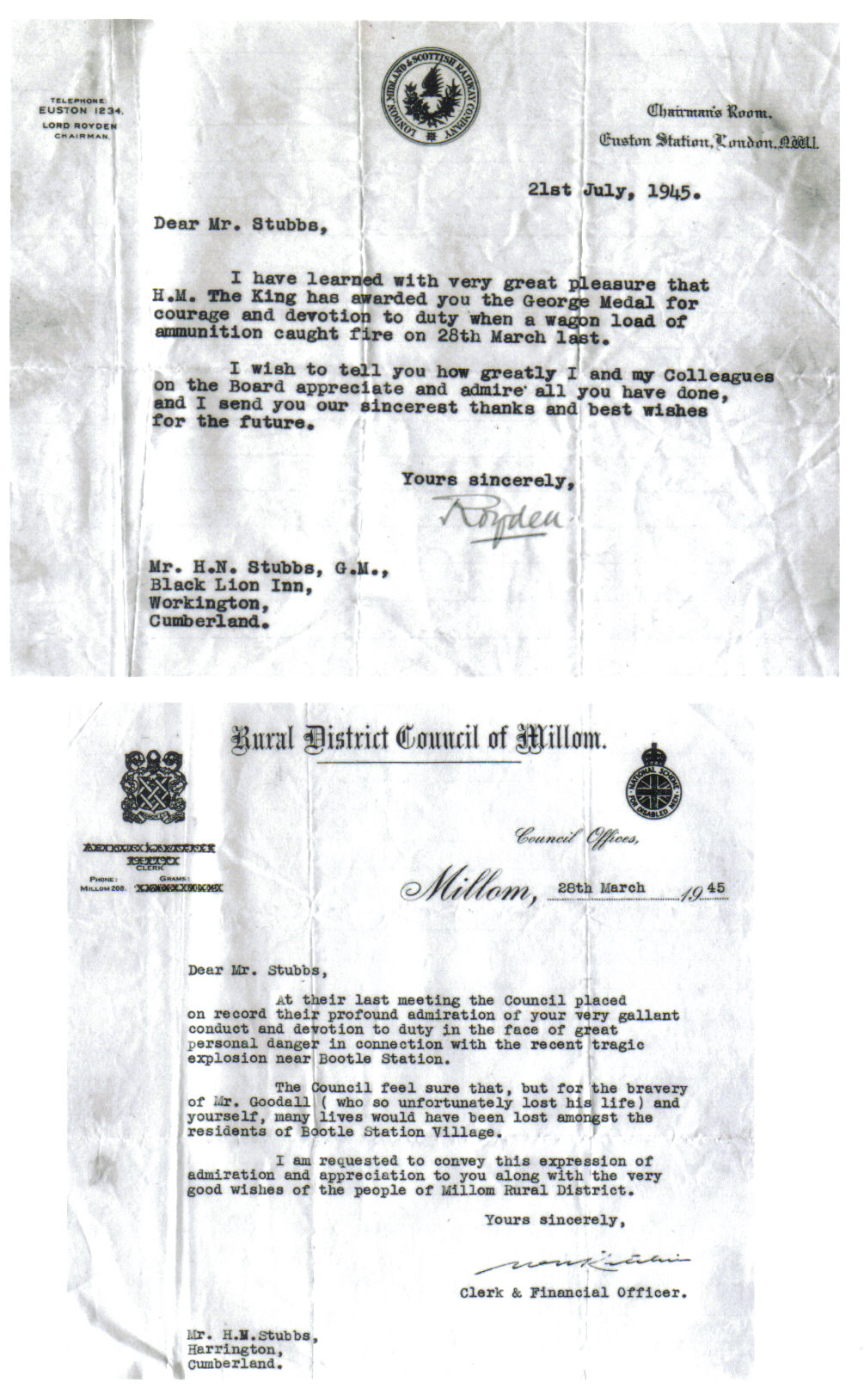 Letter from Millom Council 1945
