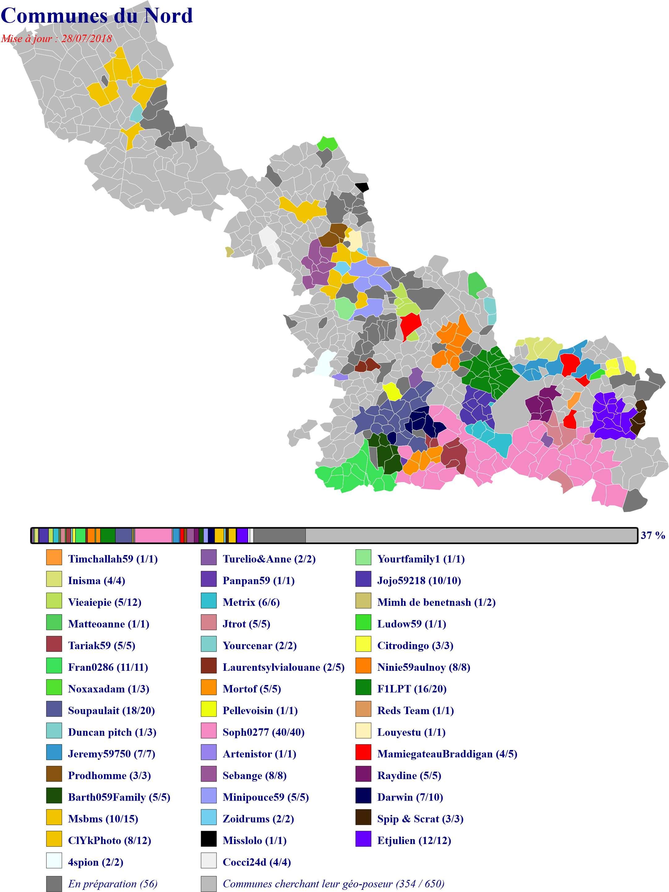 Carte des communes du Nord