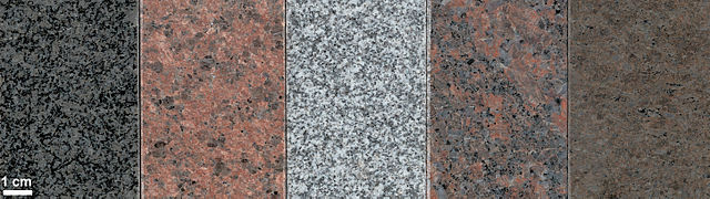 Granit, olika kulörer