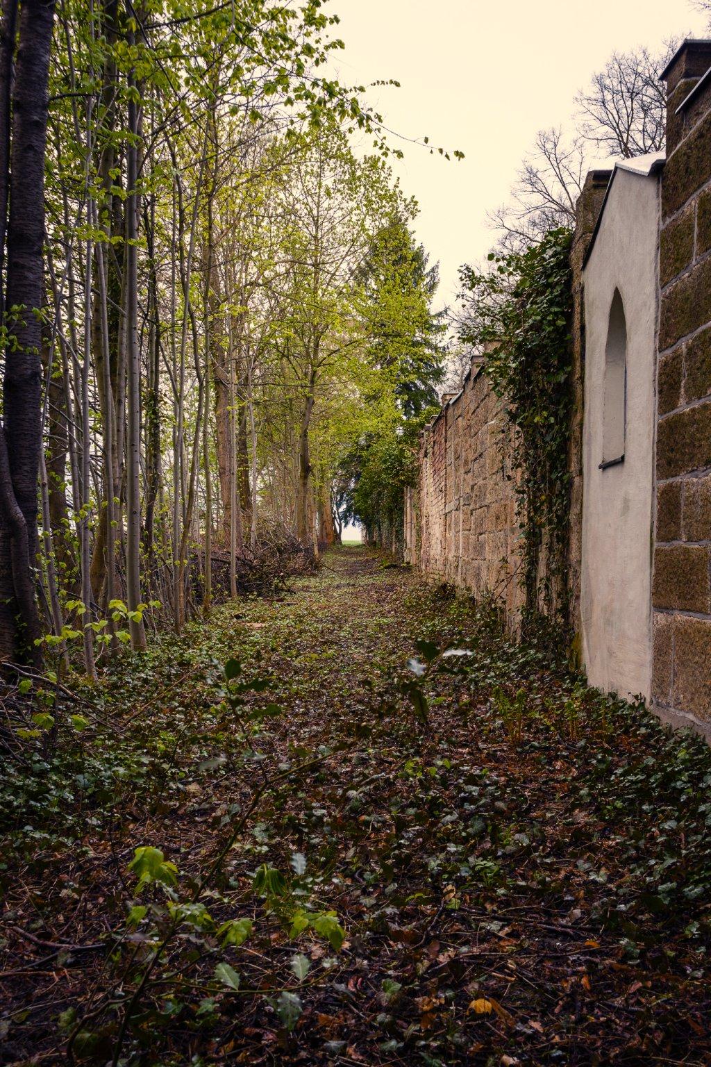 An der Wand lang.