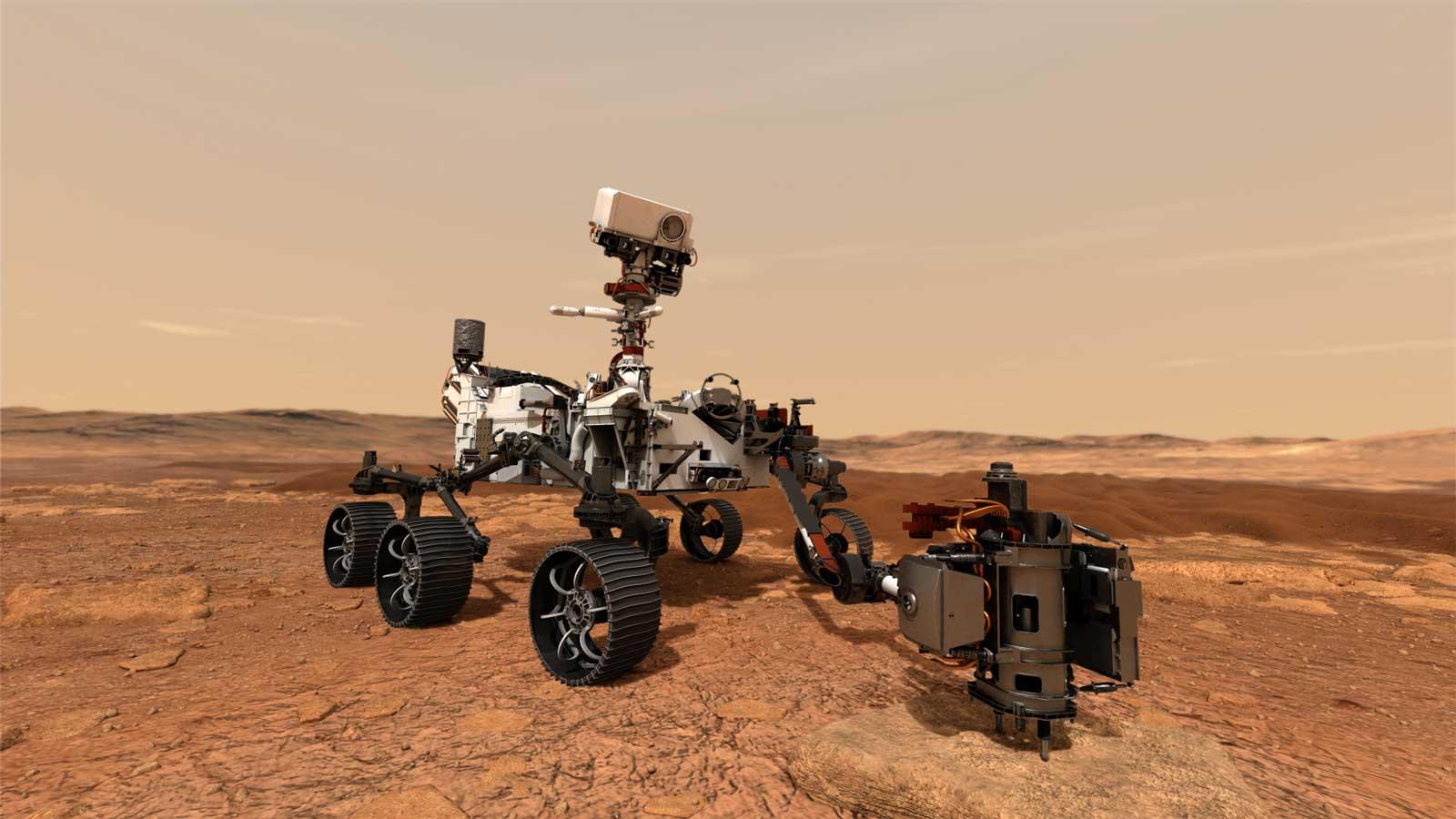 Artist's rendering of Perseverance on Mars