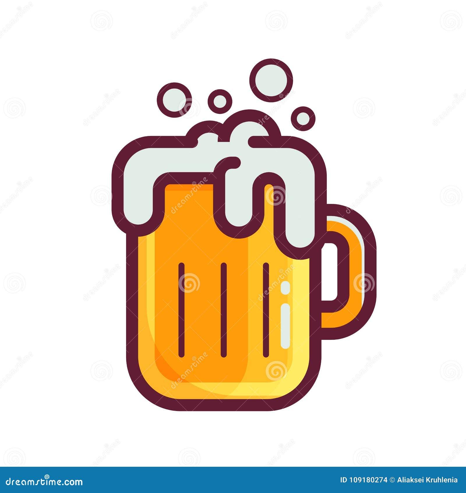 Icône jaune en verre de bière