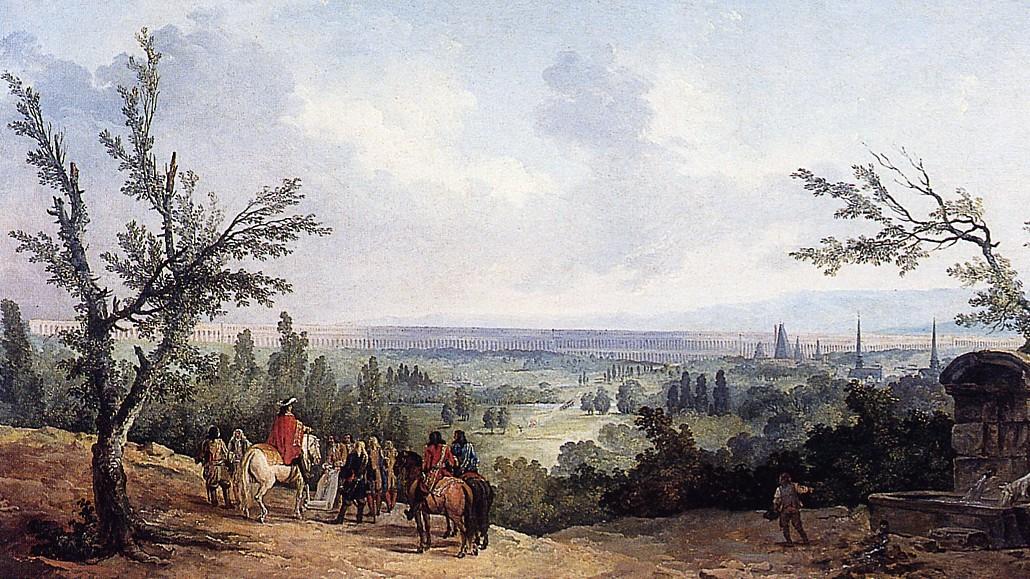 Louis XIV devant l_aqueduc long de 17 km