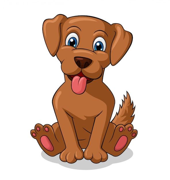 Adorável cão sentado cartoon | Vetor Premium