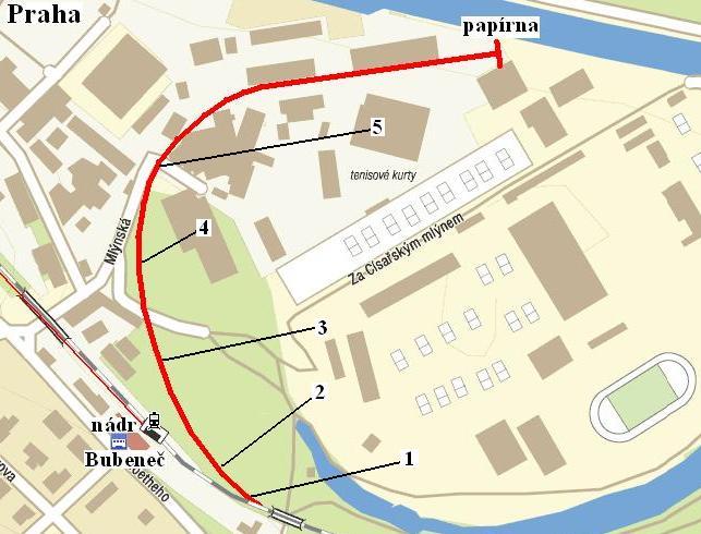 Mapa trasy vlecky Bubenec-Cisarsky mlyn